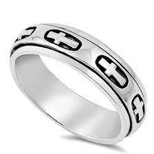 men hand rings images Men 8mm 925 sterling silver right hand band cross spinner ring jpg