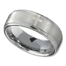christian wedding bands wedding ring in 8mm with polished cross