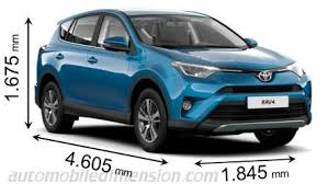 dimensions of toyota rav4 dimensions of toyota cars showing length width and height