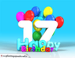 sprüche 17 geburtstag 17 geburtstag bild happy birthday mit ballons