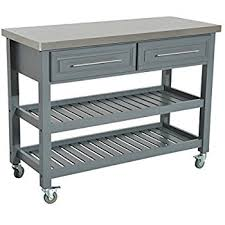 kitchen island stainless steel top amazon com best choice products wood mobile kitchen