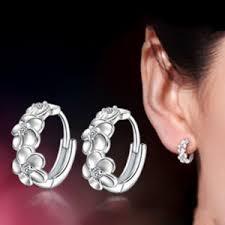 top earings top sale 925 sterling silver earring woven flowers shape hoop