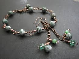 copper bead bracelet images Tree agate green gemstone copper bracelet vamps jewelry gothic jpg