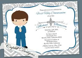 Holy Communion Invitation Cards Samples First Communion Invitation Boy Boy First Holy Communion