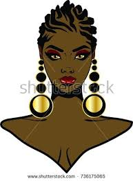 pics of black woman clip on hairstyle beautiful black woman braid hairstyle earrings stock illustration