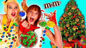 learn colors w candy christmas ornaments funny girls make m u0026m