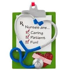 Nurse Christmas Ornament - one sturdy thick vinyl machine embroidered in the hoop