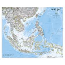 Asia Map With Country Names by Southeast Asia Classic Wall Map National Geographic Store