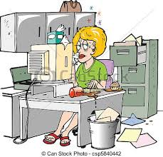 clipart bureau sick at work a sitting at desk visibly sick vector