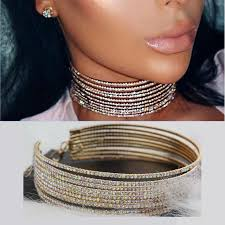 rhinestone statement necklace images Multilayer rhinestone choker crystal statement necklace 2017 big jpg