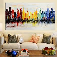 Livingroom Wall Decor 120x60cm Modern City Canvas Abstract Painting Print Living Room