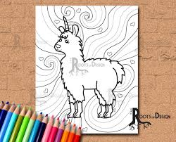 instant download coloring page fun llamacorn doodle art