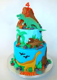 dinosaur cake sculpted rice crispy treat volcano decorated
