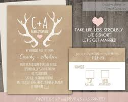 casual wedding invitations deer antlers rustic wedding invitation set casual 2461380 weddbook