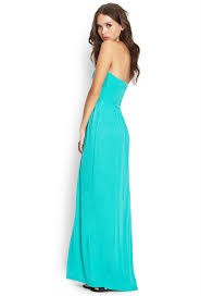 forever 21 strapless maxi dress in green lyst