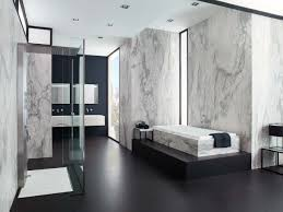 bathroom cozy wood flooring with bathroom bench and exciting contemporary bathroom design with cozy bathtub and glass shower door plus elegant porcelanosa tile