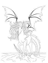 coloriage cheval dragon fantastique le monde du cheval