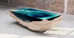Wood Glass Coffee Table Coffee Table Made Of Layered Glass To Resemble The Depths Of The