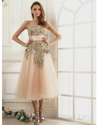 buy tailor made light pink lace embroidery tea length prom dresses