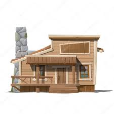 wooden house with stone chimney in country style u2014 stock vector
