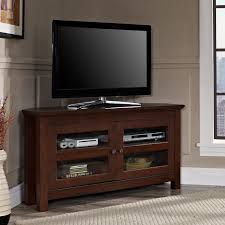 Traditional Tv Cabinet Designs For Living Room Walker Edison 44 In Corner Wood Tv Console Traditional Brown