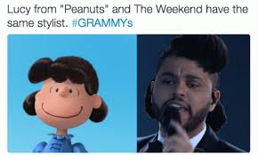 The Weeknd Hair Meme - lucy from peanuts and the weeknd have the same stylist grammys