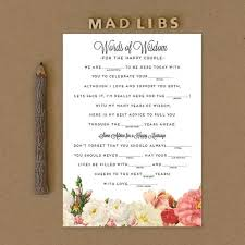 wedding mad libs wedding mad libs for engagement party bridal shower and bachelorette