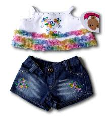 teddy clothes clothes frilly top denim shorts