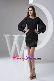 bateau long puffy sleeves little black dress juniors