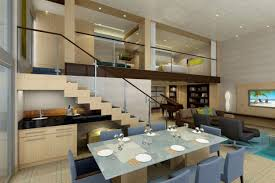 creative of interior design for living room and dining room with