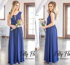 2017 dark navy country style bridesmaid dresses a line chiffon