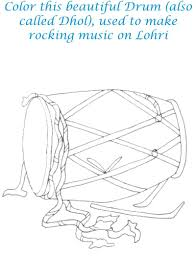 lohri drum coloring printable page for kids