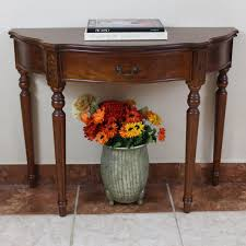 Marble Entry Table Furniture Teak Wood Carved Half Moon Console Tables With Drawer