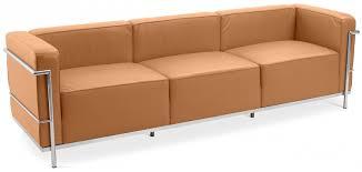 canape en cuir marron canapé design 3 places cuir marron clair inspiré lc3 le corbustier
