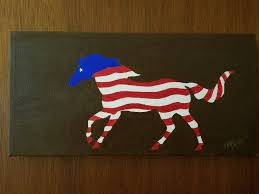 Horse With American Flag Patriotic Mustang Painting Horse Wall Art Red White And Blue