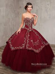burgundy quince dresses embroidered satin quinceanera dress by s bridal princess