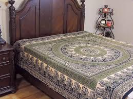 cotton mandala paisley duvet cover green and black bedroom decor