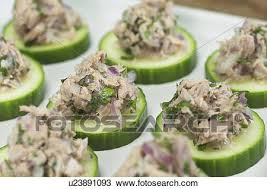 cucumber canapes stock photo of tuna and cucumber canapes with recipe u23891093