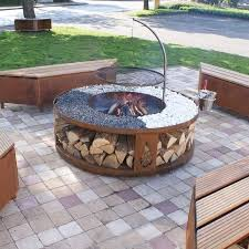 Firepit Grill Pit Grill With Wood Bench And Outdoor Area Also Wood Storage
