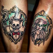 couples skeleton skull tattoos his and hers ink