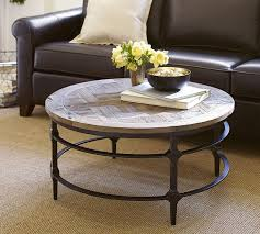 round wood and metal end table parquet round coffee table at pottery barn home decor design