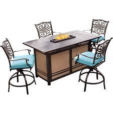 High Top Patio Furniture Set by Traditions 5 Piece High Dining Bar Set In Blue With 30 000 Btu