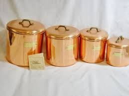 copper canisters kitchen amazing n solid copper canister set flour sugar tea coffee image of