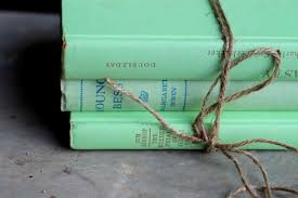 vintage antique books mint green lime wedding table