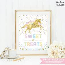 Baby Shower Candy Buffet Sign by Sweet Treats Sign Unicorn Candy Bar Table Sign Confetti Pink