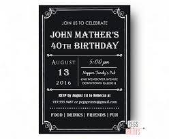40th birthday invitation for men printable milestone