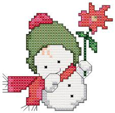 snowbaby with flower cross stitch pattern ornaments