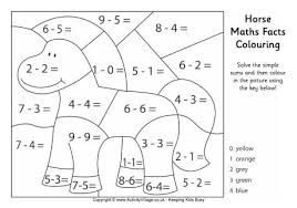 horse maths facts colouring page