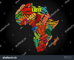 African Countries Map African Countries Map Typography Word Cloud Stock Vector 350068250