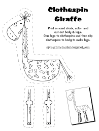 spring time treats clothespin giraffe free printable projects